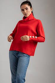 Трендовый свитер свободного кроя с жемчужинами-пуговицами на рукавах в 4 цветах в универсальном размере