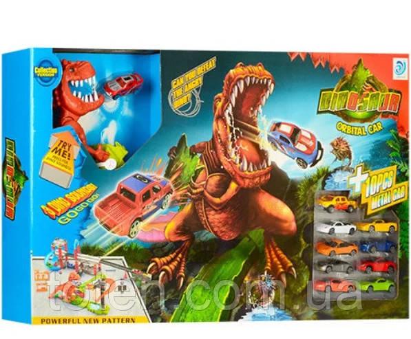 """Трек великий 120 см, 10 машинок, аналог Hot Wheels """"Динозавр в місті"""", парковка, пуск пристрою 8899-94"""