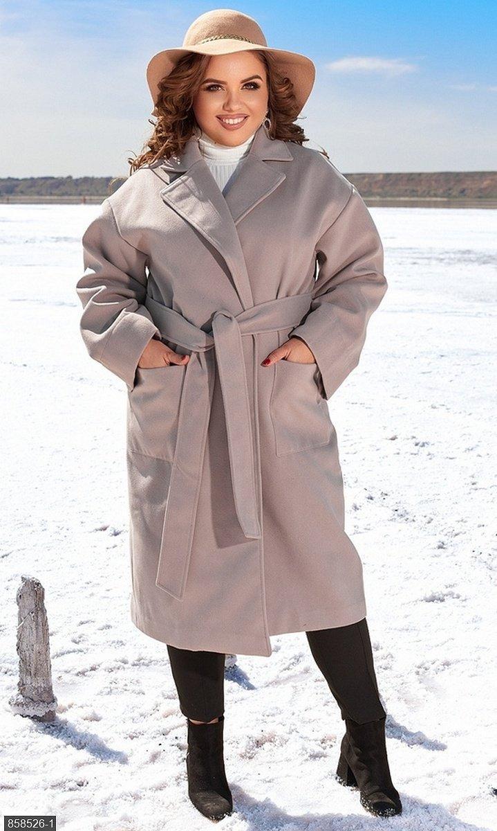 Пальто кашемірове бежевий Осінь Україна 48-52 великого розміру 858526-1