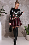 Красивая модная юбка бордо из экокожи, фото 6