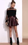 Красивая модная юбка бордо из экокожи, фото 5