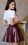 Красивая модная юбка бордо из экокожи, фото 2