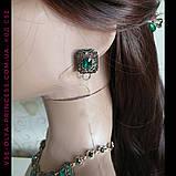 Комплект сережки і кольє під золото з зеленими каменями, висота 8 см., фото 6
