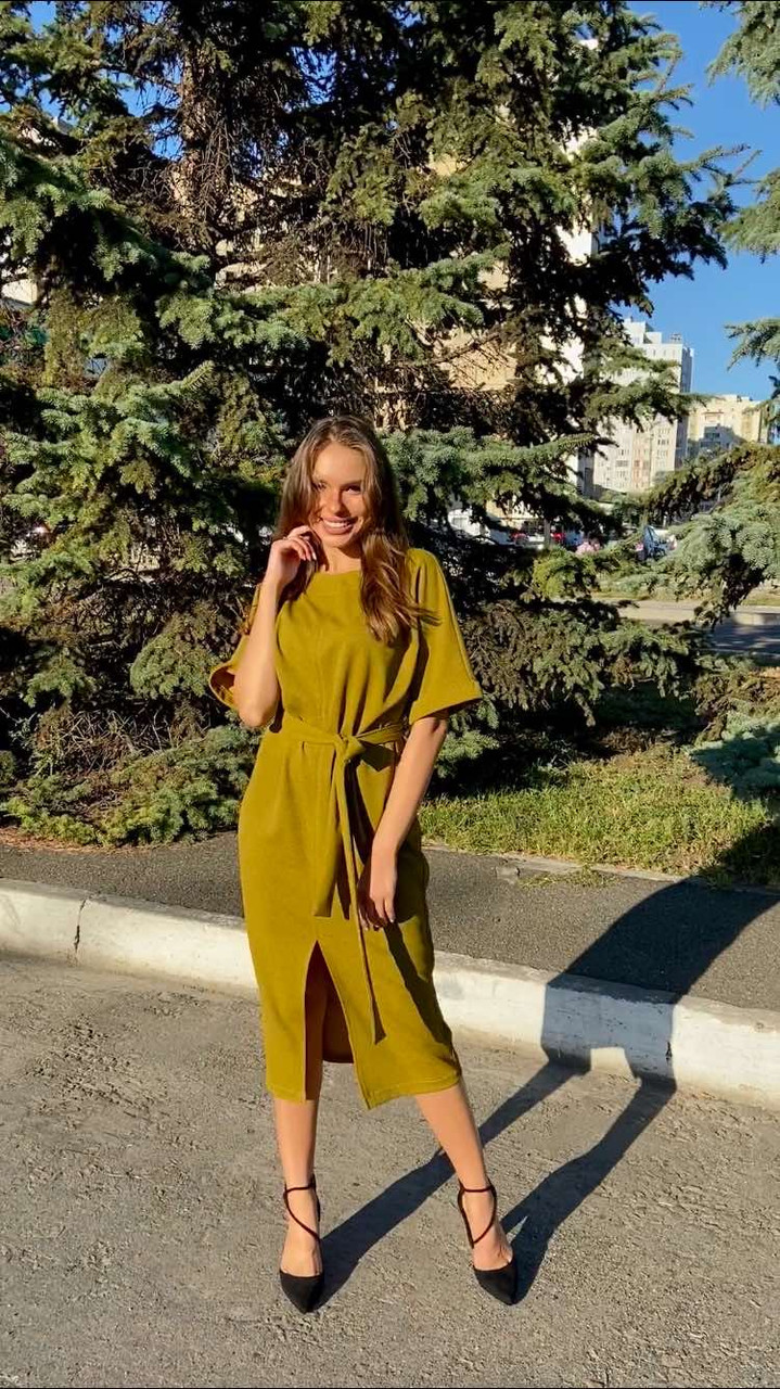 Платье футляр цвет горчица миди РАЗМЕР+ рукав 3/4 с поясом