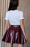 Красивая модная юбка бордо из экокожи, фото 4