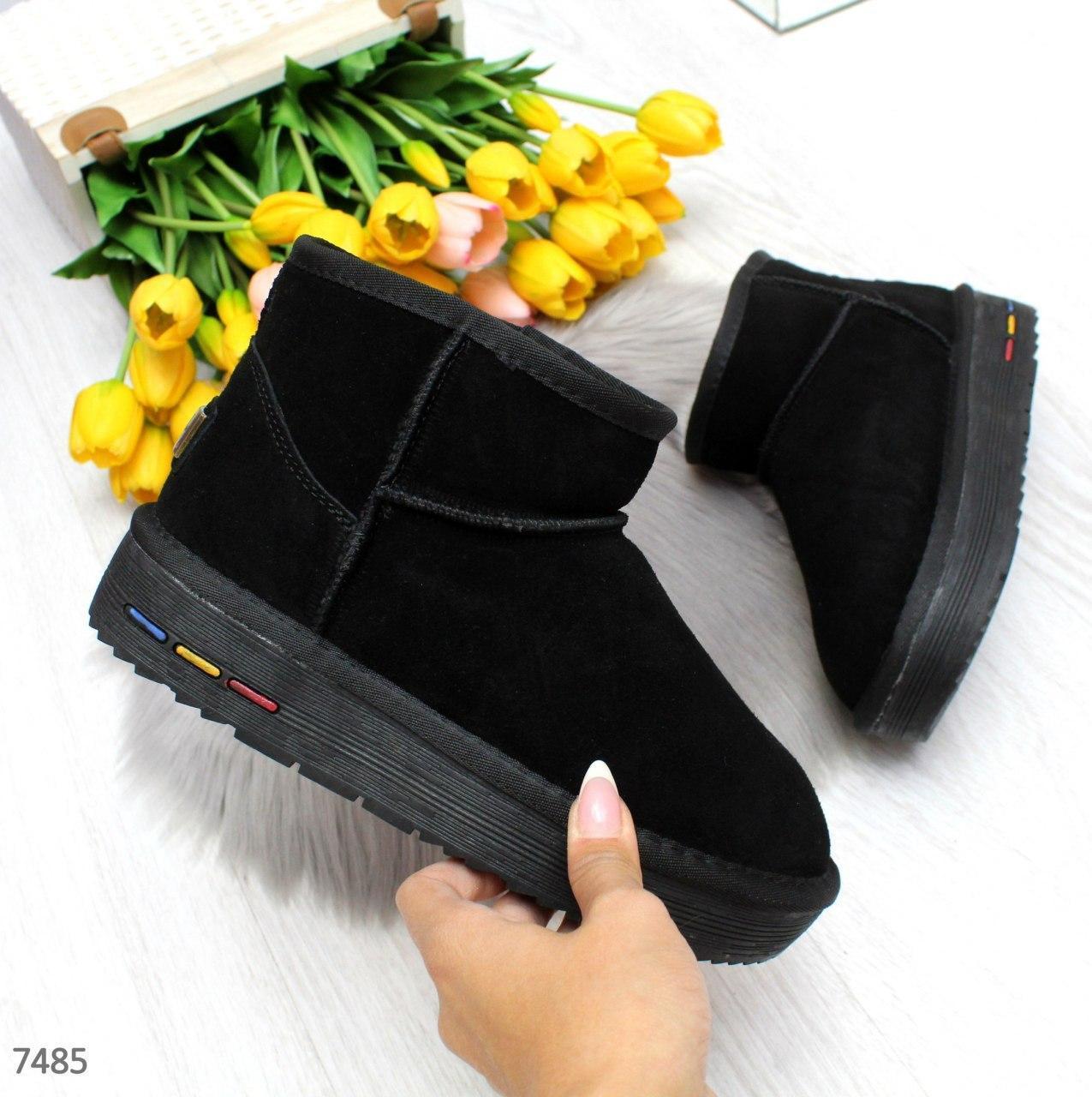 Короткие женские замшевые угги в черном цвете BO7485