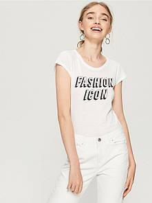Женская футболка sinsay с надписью fashion icon