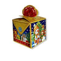 Новогодняя упаковка на конфеты Желтый подарок с бантом