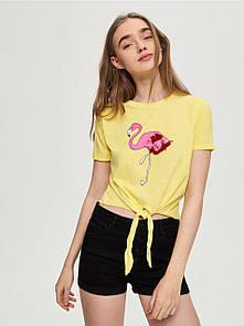 Женская футболка с фламинго sinsay