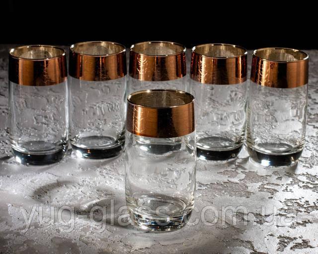 Набор высоких стаканов золото