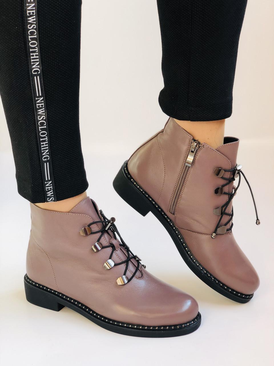 Жіночі черевики. На середньому каблуці. Натуральна шкіра.Висока якість. Erisses. Р. 35-40.Vellena