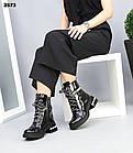 Зимние женские черные ботинки, натуральная лакированная кожа, фото 2