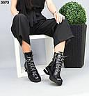Зимние женские черные ботинки, натуральная лакированная кожа, фото 4