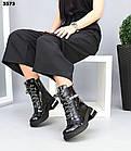 Зимние женские черные ботинки, натуральная лакированная кожа, фото 5