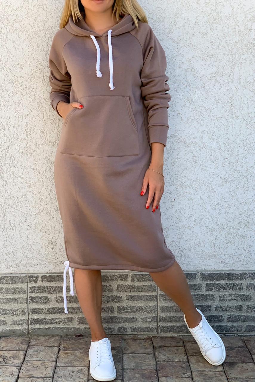 Теплое платье с капюшоном 26-823