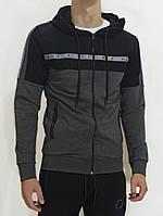 Кофта на молнии с капюшоном мужская спортивная Олимпийка хлопок Толстовка Черная Турция LS20435