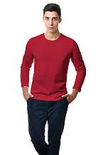 Однотонный хлопковый мужской реглан с длинным рукавом приталенного кроя бордовый