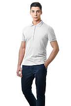 Однотонная мужская футболка - поло прилегающего силуэта белая