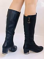 Женские осенне-весенние сапоги на среднем каблуке. Натуральная кожа. Люкс качество. Polann Р .37, 38, фото 3