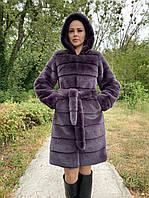 Женская фиолетовая шуба из искусственной норки с капюшоном 100 см длиной 39msh136, фото 1