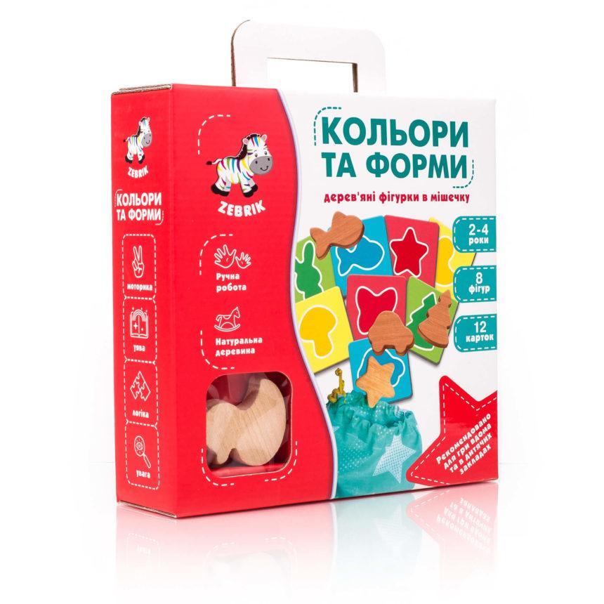 """Дерев'яні фігурки в мішечку """"Кольори та форми."""" ZB2001-01, Vladi Toys"""