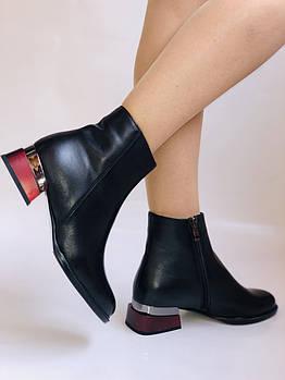 Женские стильные осенние ботинки. На среднем каблуке. Натуральная кожа. Высокое качество. Blue Tempt. Р. 37-39