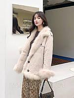 Зимова стильний 2-х стороння жіноча куртка шубка з підкладкою з лисячого хутра середньої довжини 4 кольори