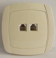 Розетка телефонная RJ11 двойная LXL Beta кремовая