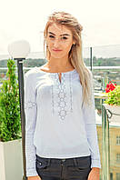 Женская вышитая футболка - длинный рукав