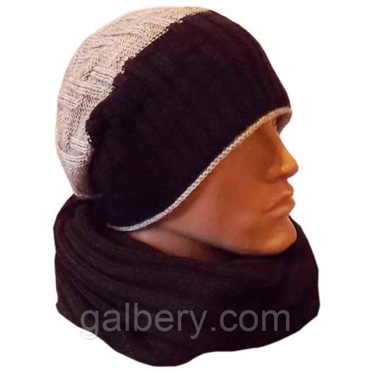 """Чоловіча в'язана шапка - носок """"гумка-діагональ""""(утеплений варіант) і шарф-снуд"""