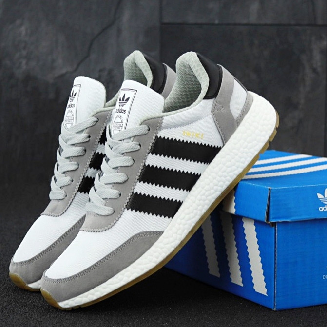 Мужские кроссовки в стиле Adidas Iniki Runner Grey/White/Black