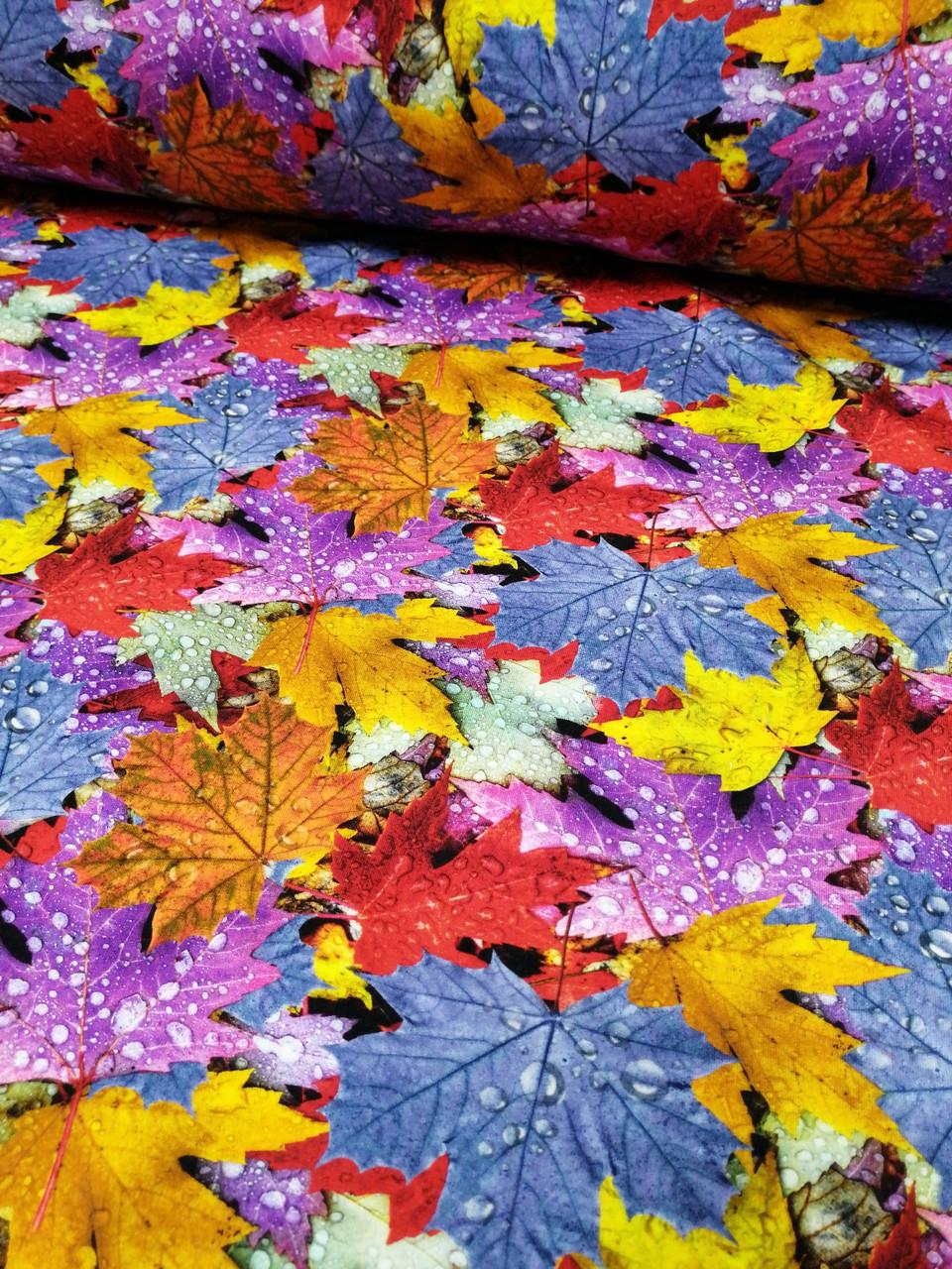"""Плащевая ткань дюспо  """"Осенние листья """" - ширина 150 см."""