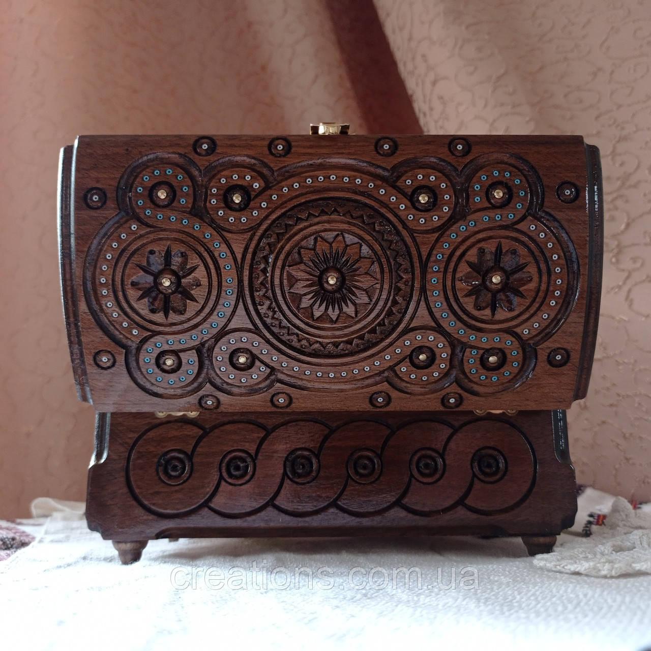 Шкатулка деревянная резная 21*11 для украшений, ручная работа