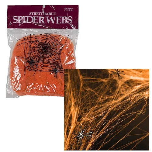 Паутина с пауками декоративная оранжевая на Хэллоуин