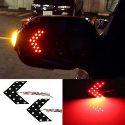 LED указатели поворота зеркала заднего вида, красные, пара, фото 2