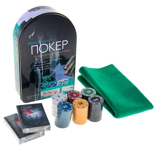 Набор для покера: карты, 120 фишек, сукно в металл коробке, покерный