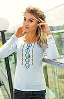 Женская вышитая футболка - длинный рукав (372)