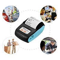 Мобильный термопринтер чеков Bluetooth Goojprt, POS принтер + чехол Голубой