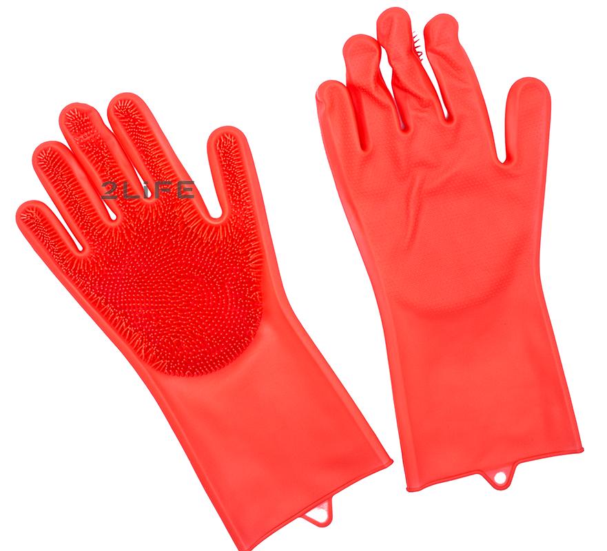 Перчатки силиконовые многофункциональные уборка, чистка, мытье посуды, ухваты 2Life Красные (n-529)