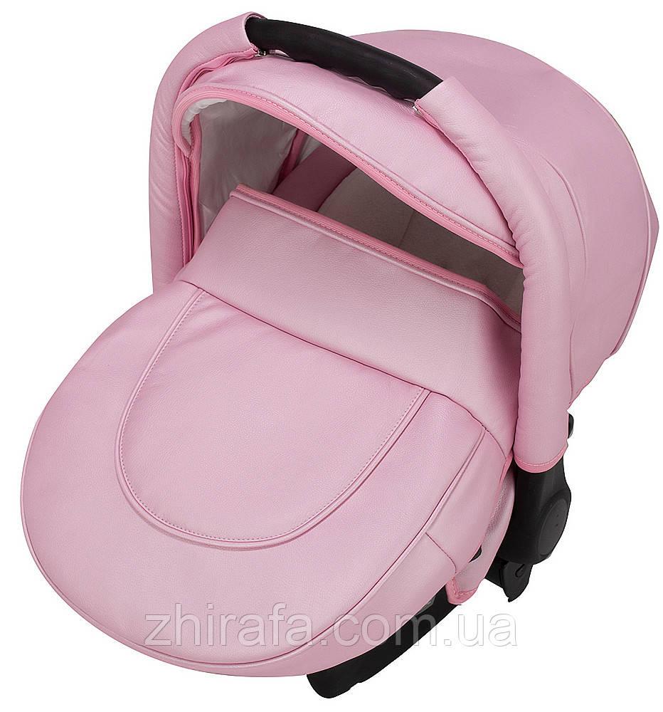 Автокресло Adamex Carlo кожа 100% SM5 розовый перламутр