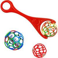 Каталка с мячом красная, с погремушкой в середине, OBall (81091-2)