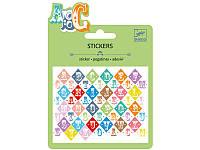 Буквы, набор наклеек, металлический цвет Djeco (DJ09768)
