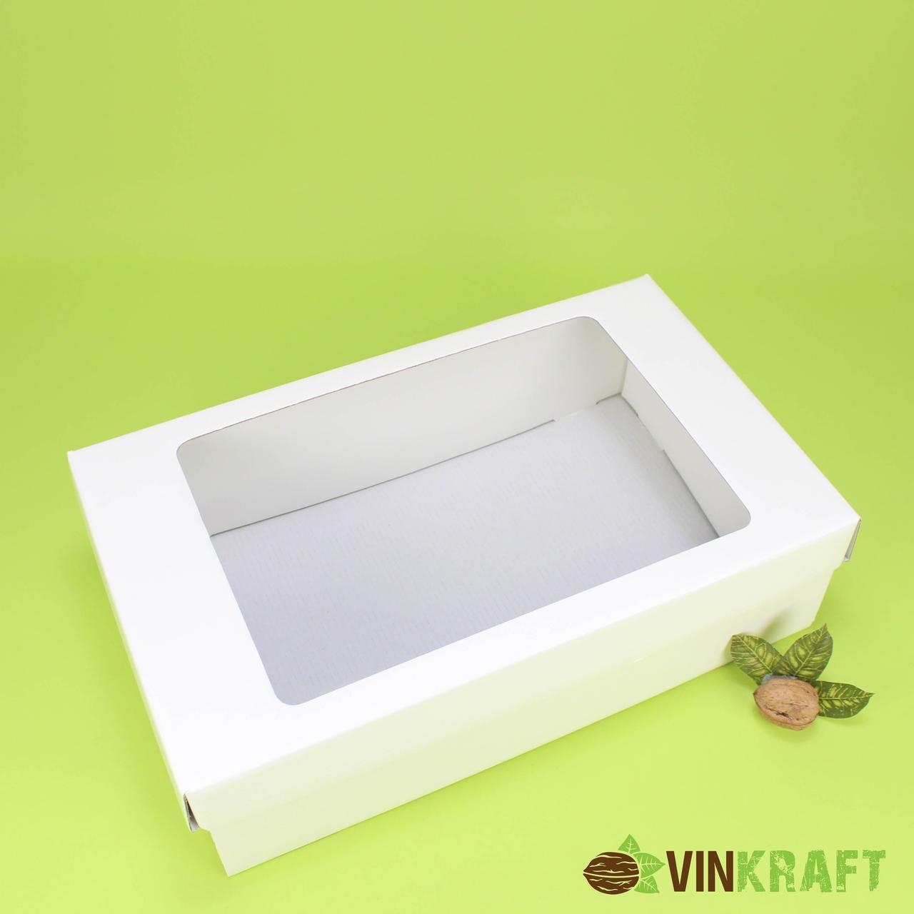 Коробка  350*210*100 подарункова з вікном, біла