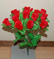 М-557 Троянда міні з листком 14 голів 40х5 см, фото 1