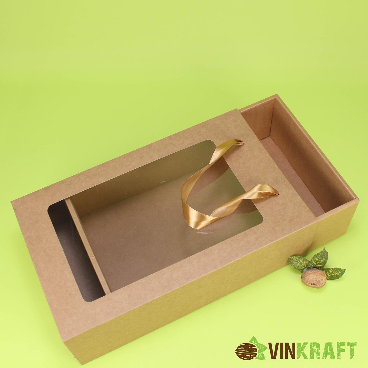 Подарунковий пакет-коробка  350*210*100, крафт