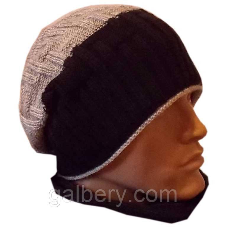"""Вязаная мужская шапка - носок """"резинка-диагональ""""(утепленный вариант), комбинированной расцветки"""