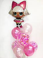 """Готовый набор шаров с гелием №5 """"Розовый стиль с куколкой ЛОЛ"""""""