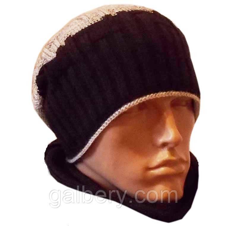 """Вязаная мужская шапка-носок """"резинка-диагональ""""(утепленный вариант),  комбинированной расцветки"""