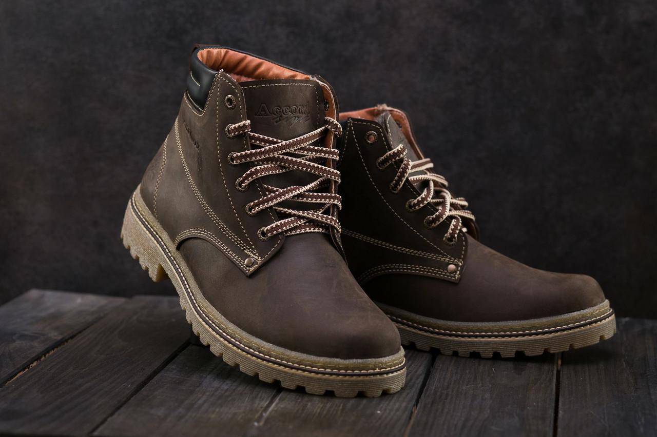 Мужские ботинки кожаные зимние коричневые Accord БОТ