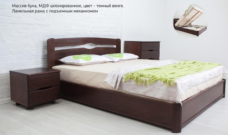 Кровать двуспальная деревянная с подъемным механизмом Каролина Микс мебель, цвет на выбор